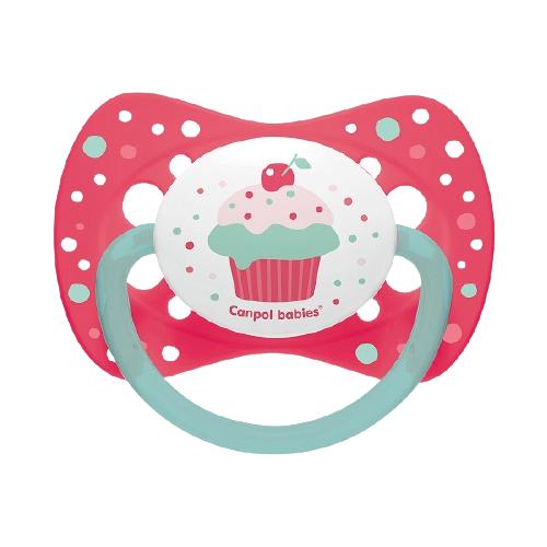 Купить Пустышка силиконовая классическая Canpol Babies Cupcake 6-18 м, розовый, Пустышки и аксессуары