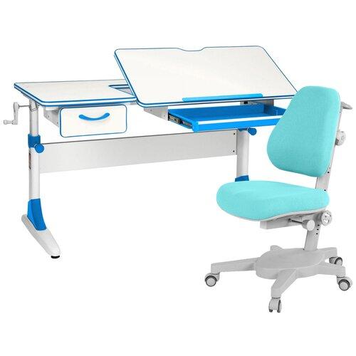 Комплект Anatomica парта + кресло + органайзер + ящик Smart-60 (Armata) 120x60 см белый/голубой комплект anatomica smart 60 парта study 120 lux кресло armata duos надстройка органайзер ящик клен серый зеленый