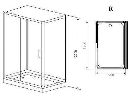 Душевая кабина Timo Puro Swing Door R низкий поддон 120см*90см