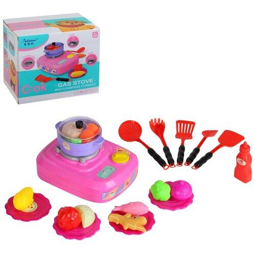 Купить Кухня детская игровая Плита с аксессуарами, с паром, светом и звуком, столовые приборы, игрушечная еда, цвет розовый, в/к 21, 3*15*18см, Компания Друзей, Детские кухни и бытовая техника