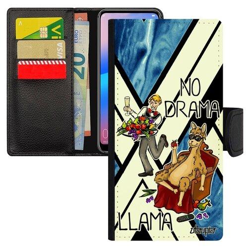 Чехол-книжка на смартфон Huawei P20 Pro французский дизайн No drama lama Комикс Супер лама чехол книжка на смартфон huawei p20 pro оригинальный дизайн no drama lama лама без напрягов