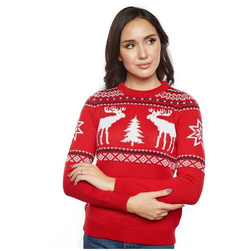 Женский свитер, классический скандинавский орнамент с Лосями и снежинками, натуральная шерсть, красный цвет, размер XS