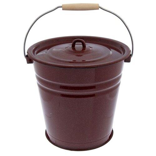 Ведро Сибирские товары эмалированное с крышкой, без рисунка (С41224/С41224П) 12 л коричневый