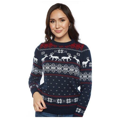 Женский свитер, классический скандинавский орнамент с Оленями и снежинками, натуральная шерсть, синий цвет, размер M