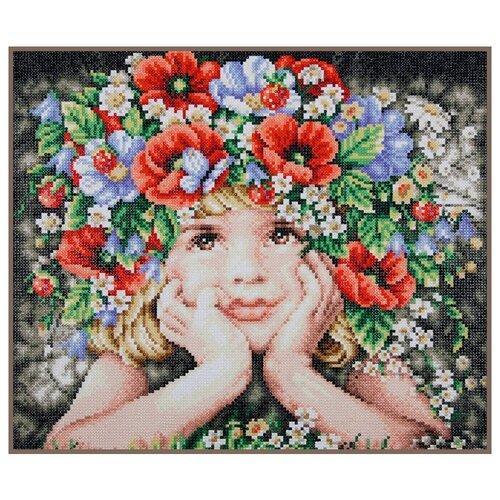 Купить PN-0188130 Алмазная мозаика LanArte 'Девочка с цветами' 47x40см, Алмазная вышивка