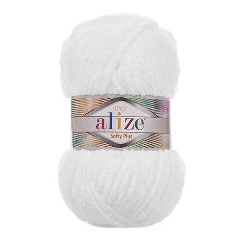 Купить Пряжа для вязания Alize 'Softy Plus' 100г 120м (100% микрополиэстер) (55 белый), 5 мотков