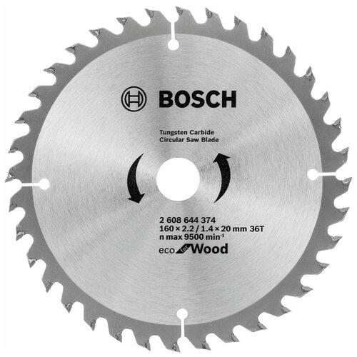 Пильный диск BOSCH Eco Wood 2608644374 160х20 мм диск пильный bosch eco wood 190 ммx20 мм 48зуб 2608644378