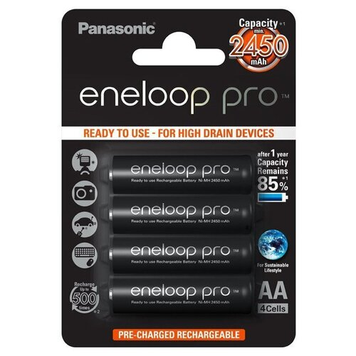 Фото - Аккумуляторы Panasonic Eneloop Pro AA 2450 мАч, 4 штуки аккумулятор aa fujitsu hr 3utceu 4b 1900 mah 4 штуки