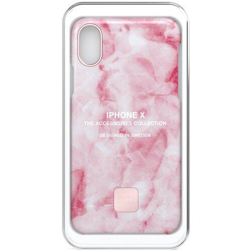 Фото - Чехол-накладка Happy Plugs 9161 + защитная пленка для Apple iPhone X/Xs розовый клип кейс happy plugs для apple iphone xs black marble черный мрамор