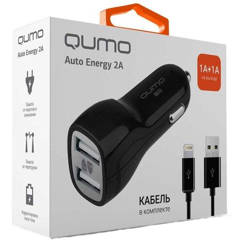 Фото - Автомобильное зарядное устройство Qumo Auto Energy 2A 2 USB 1A+1A + кабель Apple 8 pin автомобильное зарядное устройство qumo 3 0a 2xusb 1a 2a кабель apple lightning в комплекте черный 20737