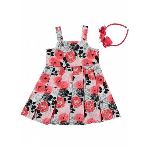 платье для девочки acoola pomelo цвет голубой 20220200368 400 размер 104 Платье для девочки с ободком Monna Rosa Цветы красное, размер 104-110