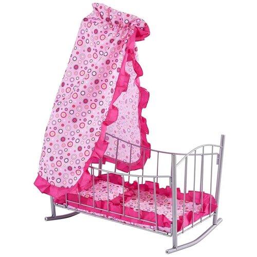 Фото - Buggy Boom Кроватка-качалка для кукол Loona (8889) светло-розовый с разноцветными кружочками коляски для кукол buggy boom инфиниа 8459 2 в 1