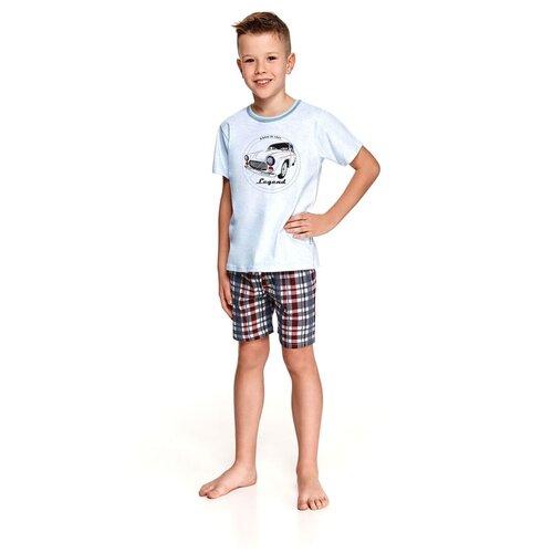 Купить Taro Хлопковая пижама для мальчиков Damian с шортами в клетку голубой 92, Домашняя одежда