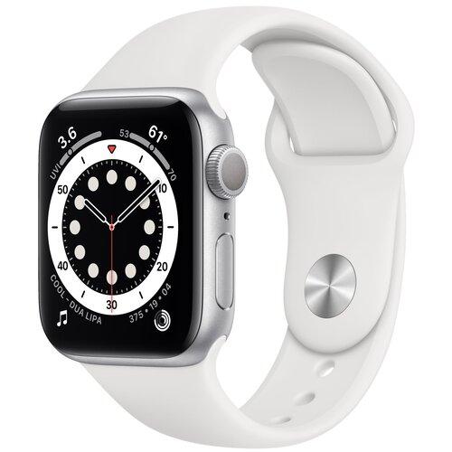 Умные часы Apple Watch Series 6 GPS 40мм Aluminum Case with Sport Band, серебристый/белый