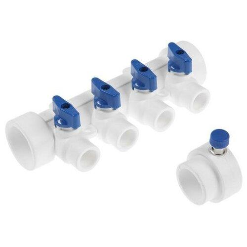 Коллектор VALFEX, 40х20 мм, 4 выхода, отсечные синие краны, воздухоотводчик, полипропилен 6578226