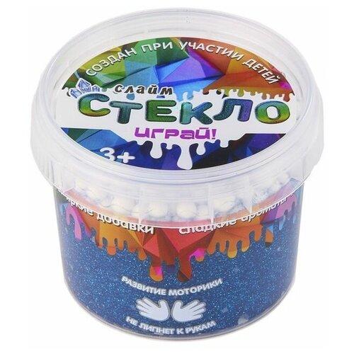 Слайм Стекло с синими блестками, 100 гр, Слайм Стекло