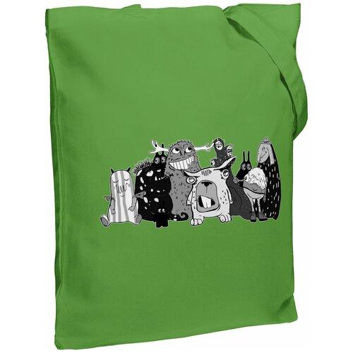 Сумка-шоппер «Все мы немного монстры», ярко-зеленая
