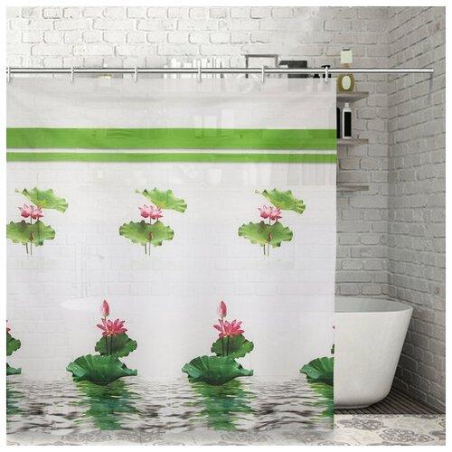 Штора для ванной Доляна Лотос 180x180 лотос штора для ванной доляна малевич 180x180 малевич