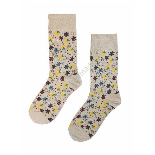 Носки ALINA FANNY бежевые цветы (36-41)