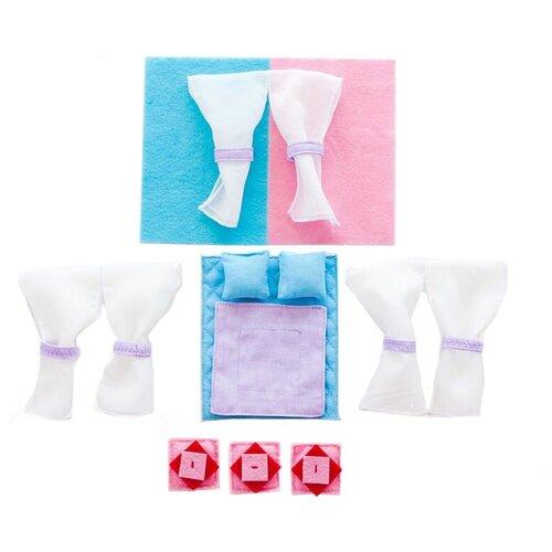 Постельные принадлежности PAREMO для серии закрытых домиков Анастасия PDA115 голубой/ розовый