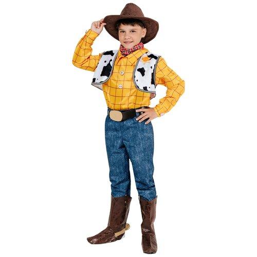 Костюм пуговка Ковбой Вуди (9008 к-21), желтый/коричневый/синий, размер 146 брюки sela размер 146 коричневый