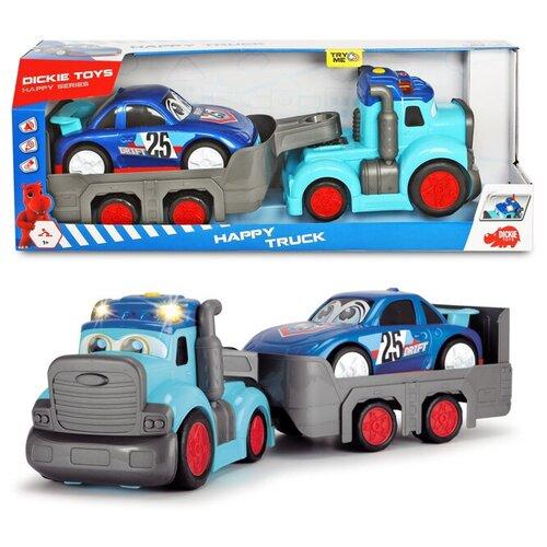 трансформер трейлер dickie optimusprime свет звук Dickie Toys Трейлер Happy с прицепом, 60 см, свет, звук, 3819011