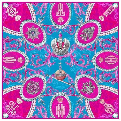 Платок Русские в моде by Nina Ruchkina Императорский маршрут лазурный 100% шёлк розовый/голубой