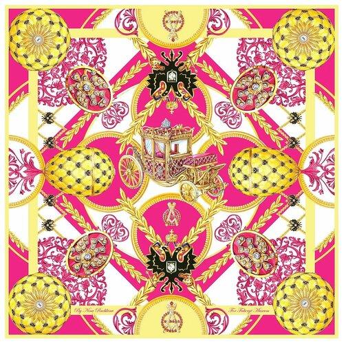 Платок Русские в моде by Nina Ruchkina Фаберже Коронационное Яйцо розовый/желтый/белый