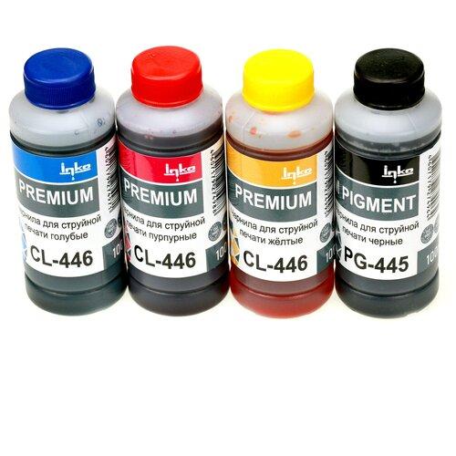Фото - Чернила INKO PG-445/CL-446 для Canon Pixma MG2440, MG2540S, MG3040, iP2840, MG2540, TS3140, TS3340, TR4540, MG2940, MG2545S, MX494, TS304, TS204 комплект 4 цвета по 100g заправочный набор для черного и цветного картриджей pg 445 445xl и cl 446 446xl принтеров canon pixma mg2440 mg2540 mg2540s mg2940 ts3340 ts5340 mg3040 ts204 ts304 ts3140 tr4540 mx494 ip28