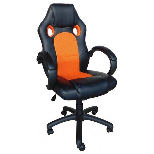 Компьютерное кресло Меб-фф MF-2008H офисное, обивка: текстиль/искусственная кожа, цвет: черный/оранжевый компьютерное кресло рива 8074 офисное обивка текстиль искусственная кожа цвет оранжевый