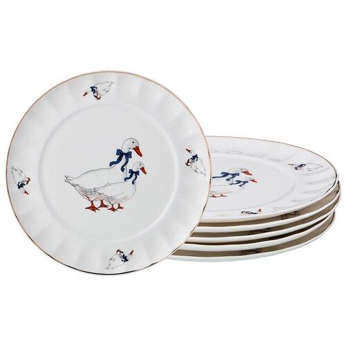 Набор десертных тарелок гуси из 6 штук, 20 см