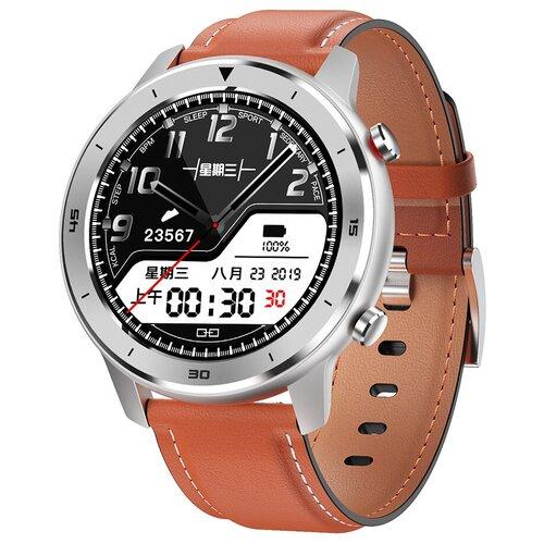 Смарт-часы GARSline DT78 с изменением давления серебристые с коричневым кожаным ремешком