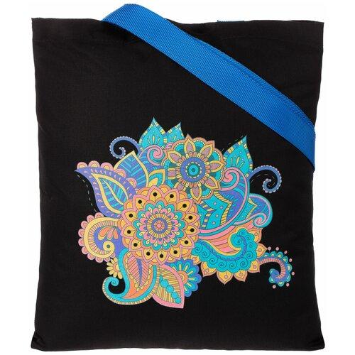 Сумка-шоппер «Узор», черная с ярко-синими ручками