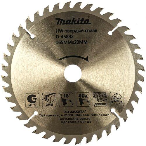 Пильный диск Makita Standart D-45892 165х20 мм диск пильный makita d 45892 standart 165 ммx20 мм 40зуб 173215