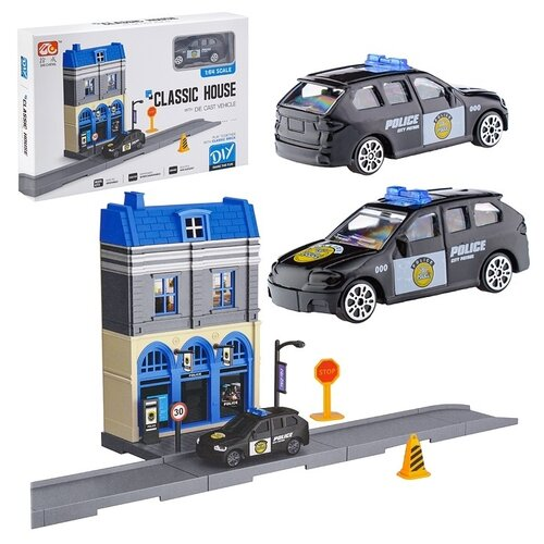 Парковка Oubaoloon с полицейским участком и машинкой, в коробке (768-1)