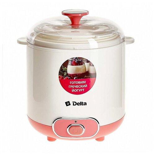 Delta Йогуртница электрическая 20 Вт, 1,5 л Delta DL-8401 белая с розовым