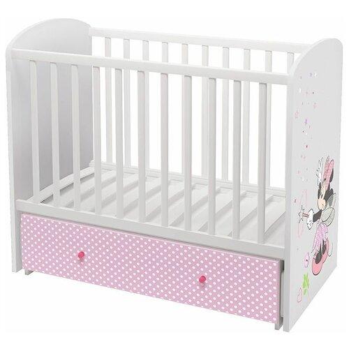 Кроватка Polini Disney baby 750 Минни Маус-Фея (классическая), поперечный маятник белый/розовый