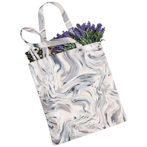 Сумка JoyArty, текстиль, белый/серый