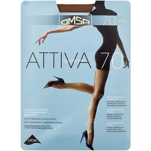 Колготки Omsa Attiva, 70 den, размер 2-S, sierra (коричневый) колготки omsa attiva 70 den размер 2 s camoscio коричневый