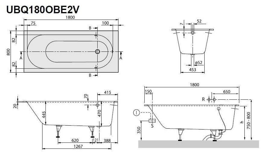 Ванна Villeroy & Boch OBERON 180x80 UBQ180OBE2V-01 кварил
