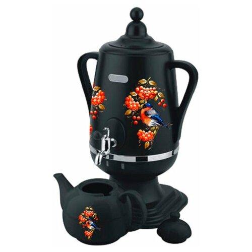 Добрыня DO-432 Снегирь на черном, Самовар электрический 4 л + заварочный керамический чайник объём 1 л ( цвет: чёрный)