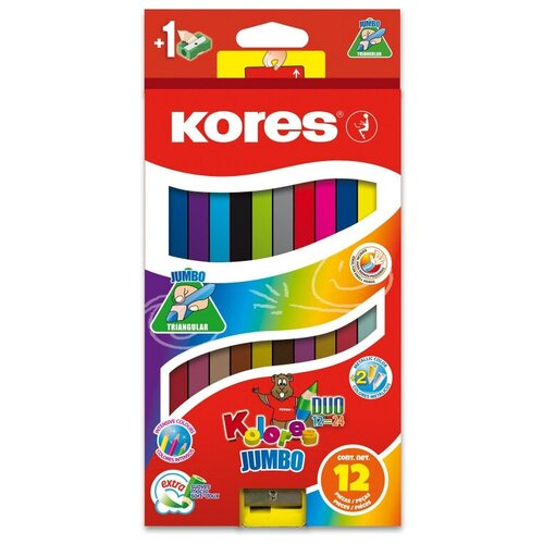 Карандаши цветные двойные 24 цв.,12 шт Kores DUO Jumbo, трехгр,5 мм,93252
