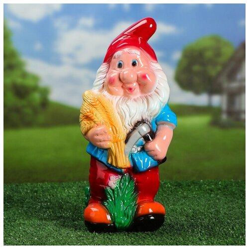 Садовая фигура Гном с колосками цветная глянец 12*17*36 см 1025761 садовая фигура утка цветная мал 30 20 46 см f01271 1145141