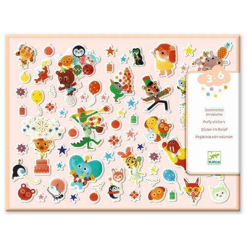 Набор объемных наклеек Djeco Вечеринка (09080) детские наклейки djeco набор объемных наклеек мамы и детки