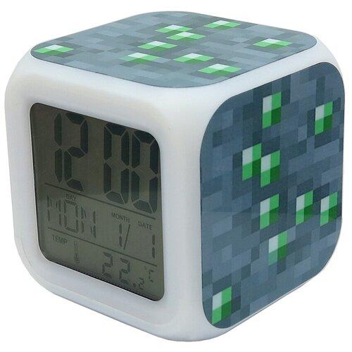 Часы-будильник Minecraft: Блок изумрудной руды (пиксельные с подсветкой)