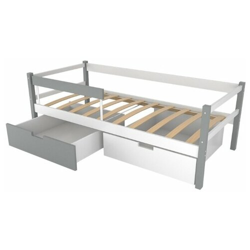 Детская кровать тахта Бельмарко Svogen, графит белый, без ящиков и бортиков недорого