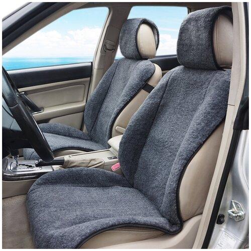Меховые накидки на автомобильные сиденья AutoWool из овечьей шерсти - 2 шт. Серые