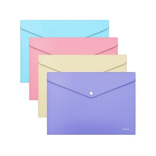 Папка-конверт на кнопке пластиковая ErichKrause Diagonal Pastel, непрозрачная, A4, ассорти 50323 недорого