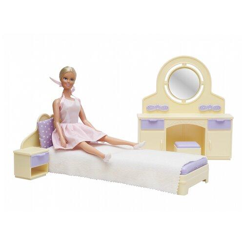 Фото - Набор мебели для кукол Огонек Спальня, Маленькая принцесса, лимонная (С-1562) ванная комната для куклы огонек маленькая принцесса