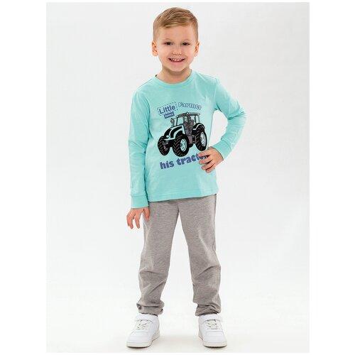 Купить Пижама детская, с принтом, цвет ментоловый/серый меланж, размер 122, Roxy Foxy, Домашняя одежда